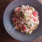 フードスタイリスト上樂由美子の作品 - 『釜あげしらすと青唐辛子とトマトのスパゲッティーニ』